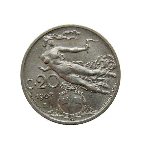 Италия 20 чентезимо 1908 г.
