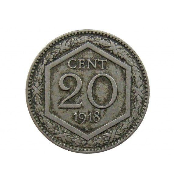 Италия 20 чентезимо 1918 г.