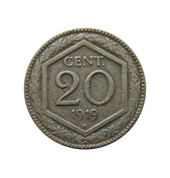 Италия 20 чентезимо 1919 г.
