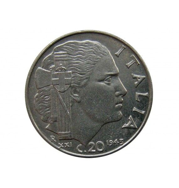 Италия 20 чентезимо 1943 г. (магнитная)