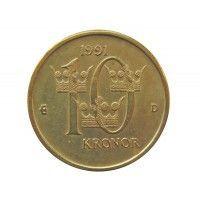 Швеция 10 крон 1991 г.