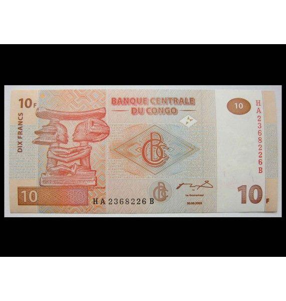 ДР Конго 10 франков 2003 г.