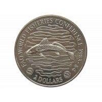 Либерия 2 доллара 1983 г. (Международная конференция по рыболовству)