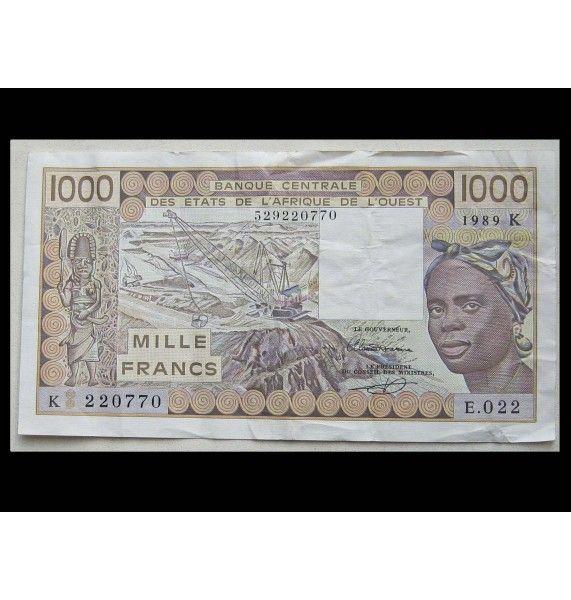 Западно-Африканские штаты 1000 франков 1989 г.