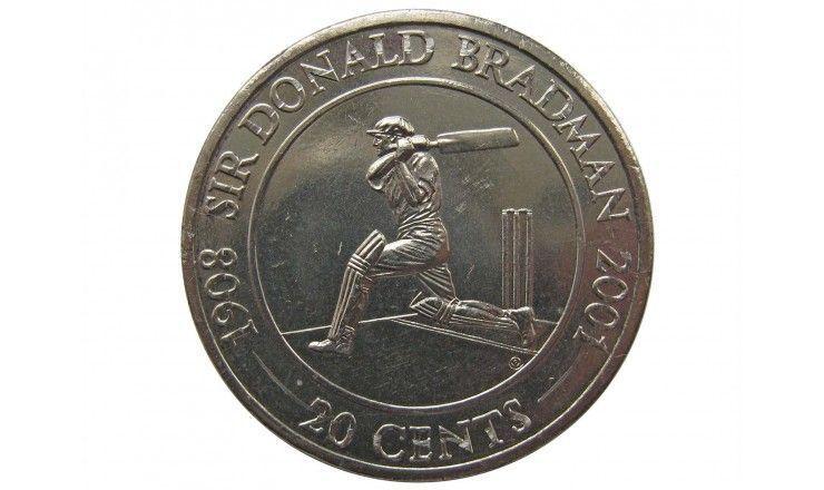 Австралия 20 центов 2001 г. (Сэр Дональд Брэдман)
