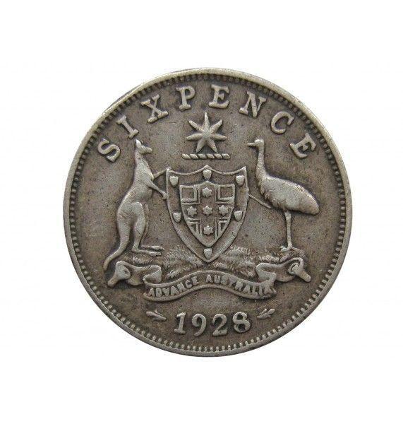 Австралия 6 пенсов 1928 г.