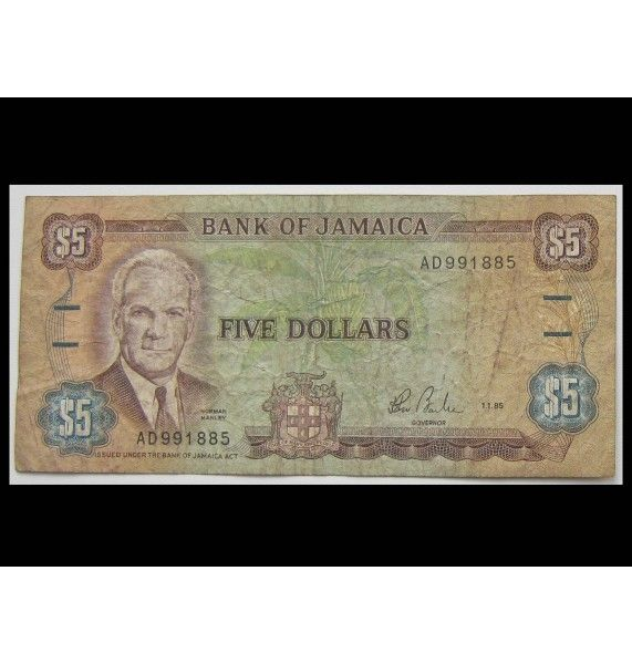 Ямайка 5 долларов 1985 г.