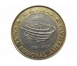 Аргентина 2 песо 2012 г. (30 лет войне за Фолкленды)
