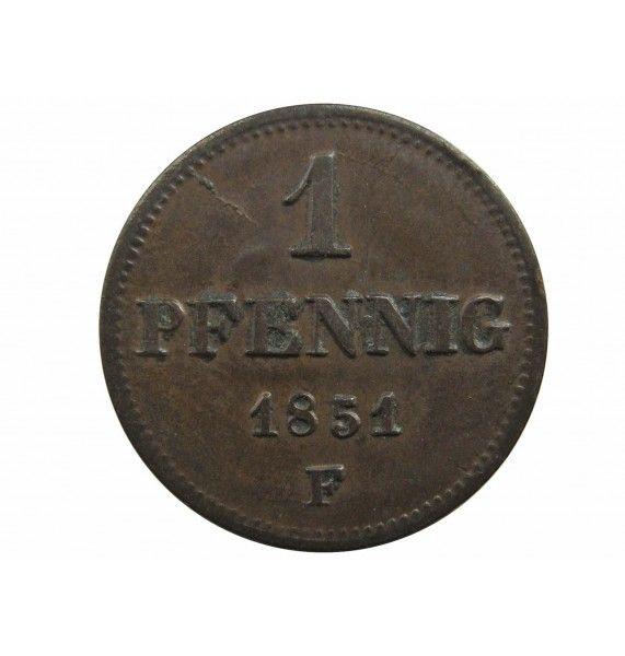 Саксония 1 пфенниг 1851 г.