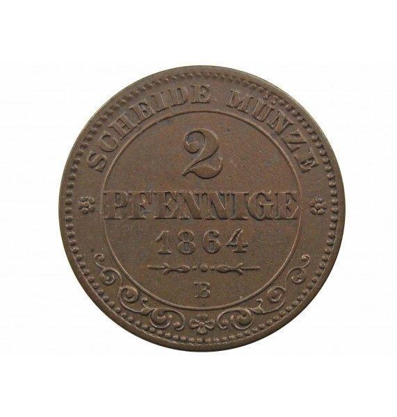 Саксония 2 пфеннига 1864 г.