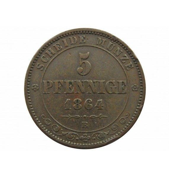 Саксония 5 пфеннигов 1864 г.