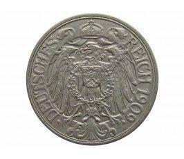 Германия 25 пфеннигов 1909 г. F