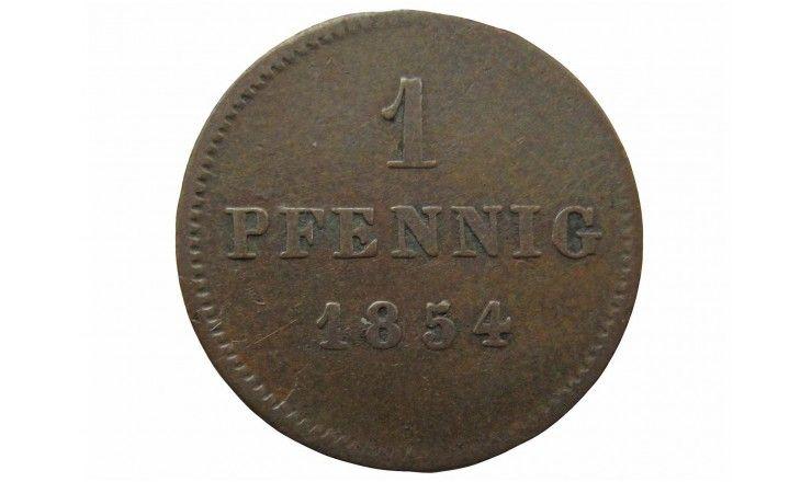 Бавария 1 пфенниг 1854 г.