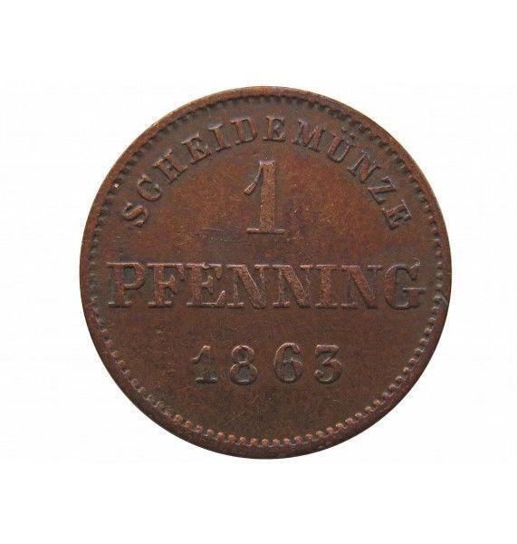 Бавария 1 пфенниг 1863 г.