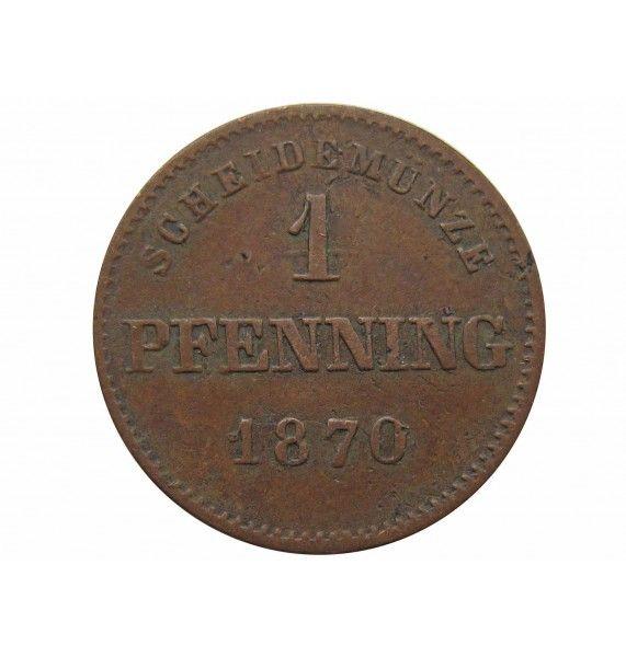 Бавария 1 пфенниг 1870 г.