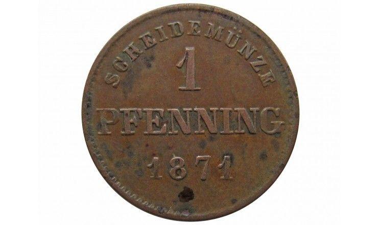 Бавария 1 пфенниг 1871 г.