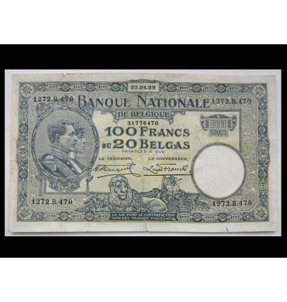 Бельгия 100 франков 1929 г.