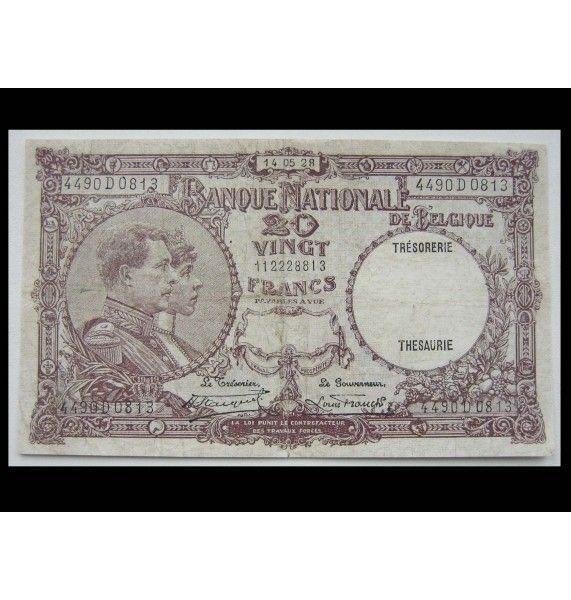 Бельгия 20 франков 1928 г.