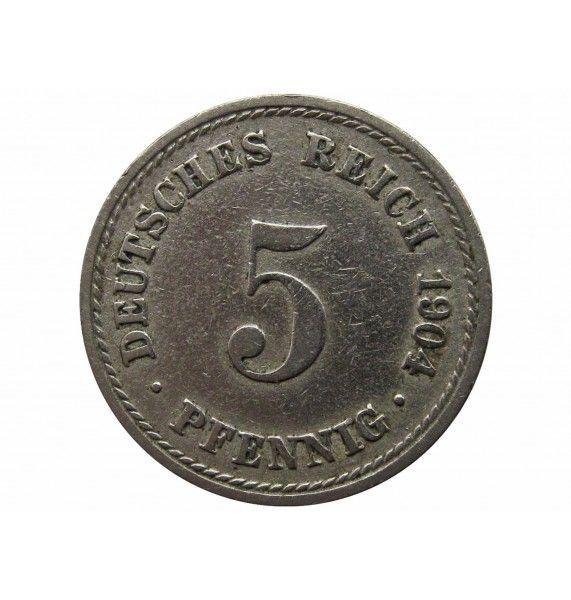 Германия 5 пфеннигов 1904 г. A