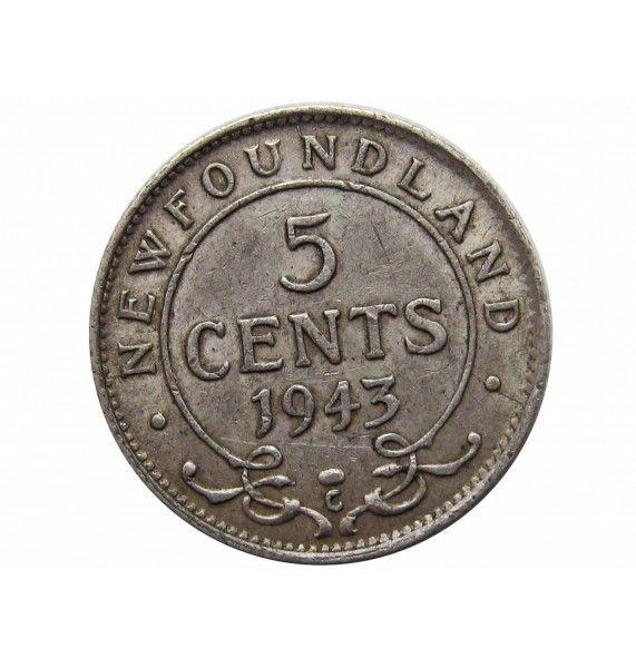 Ньюфаундленд 5 центов 1943 г.