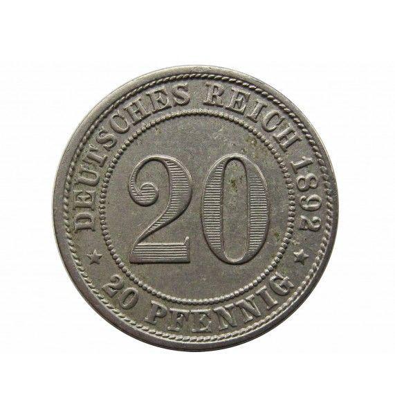 Германия 20 пфеннигов 1892 г. D