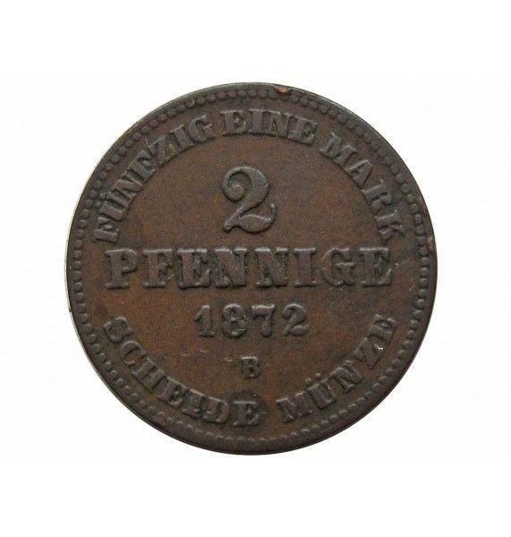 Мекленбург-Шверин 2 пфеннига 1872 г. B