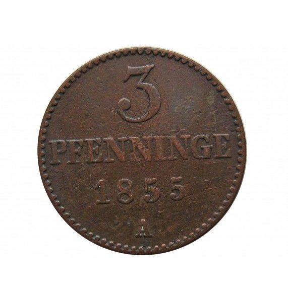Мекленбург-Шверин 3 пфеннига 1855 г. A