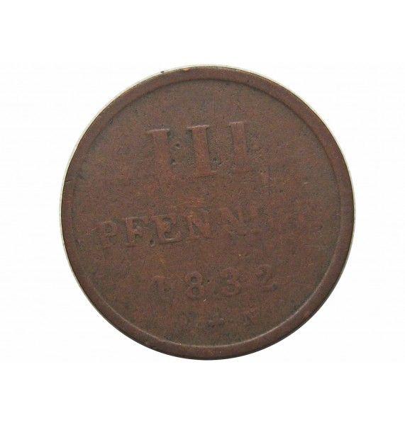 Мекленбург-Стрелиц 3 пфеннига 1832 г.