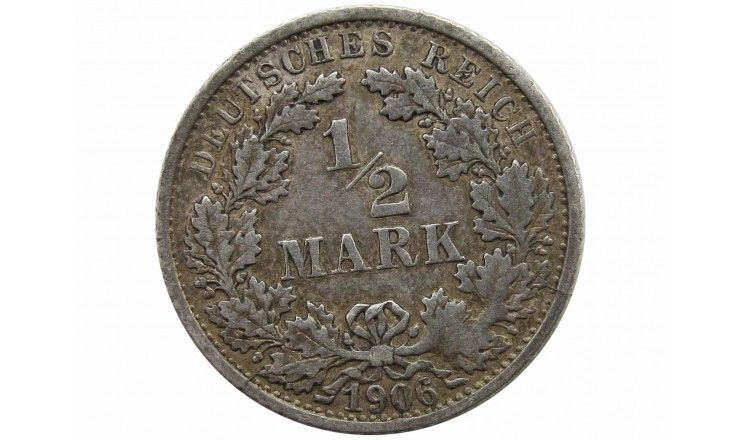 Германия 1/2 марки 1906 г. F
