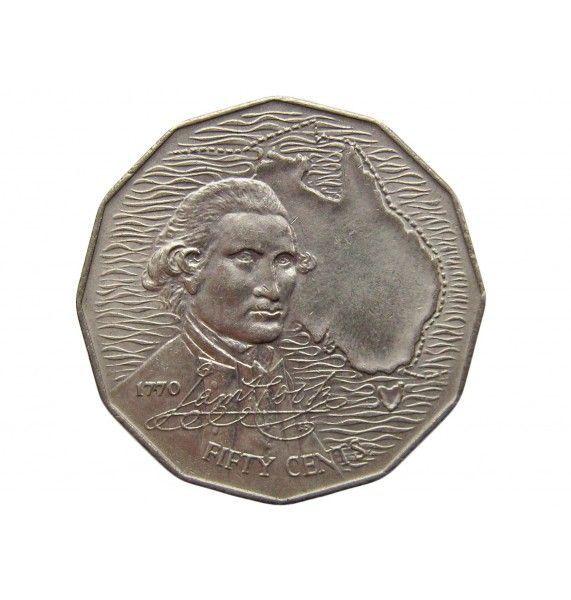 Австралия 50 центов 1970 г. (200 лет австралийскому путешествию капитана Кука)
