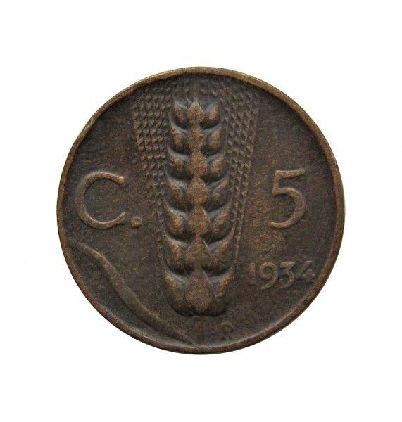Италия 5 чентезимо 1934 г.