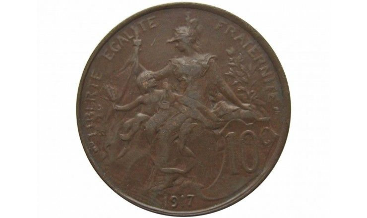 Франция 10 сантимов 1917 г.