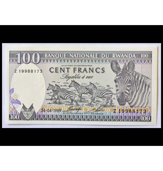 Руанда 100 франков 1989 г.