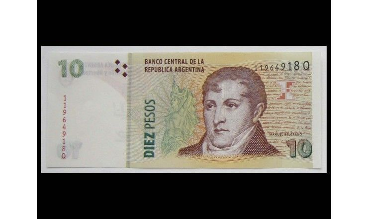 Аргентина 10 песо 2015 г.