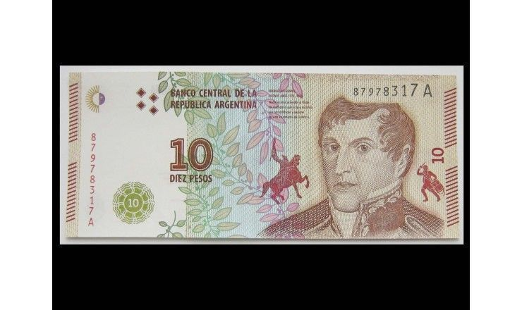 Аргентина 10 песо 2017 г.