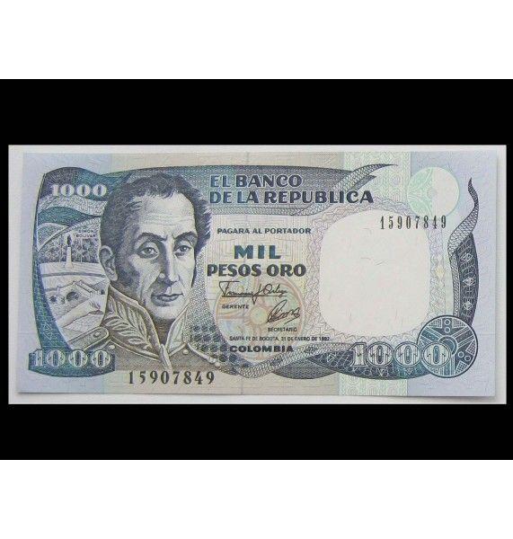 Колумбия 1000 песо 1992 г.
