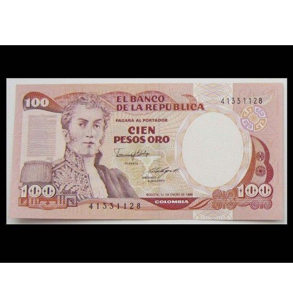 Колумбия 100 песо 1986 г.