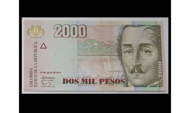 Колумбия 2000 песо 2014 г.