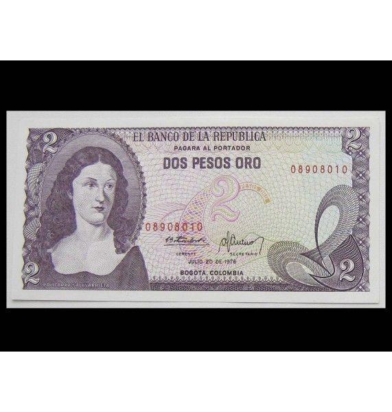 Колумбия 2 песо 1976 г.