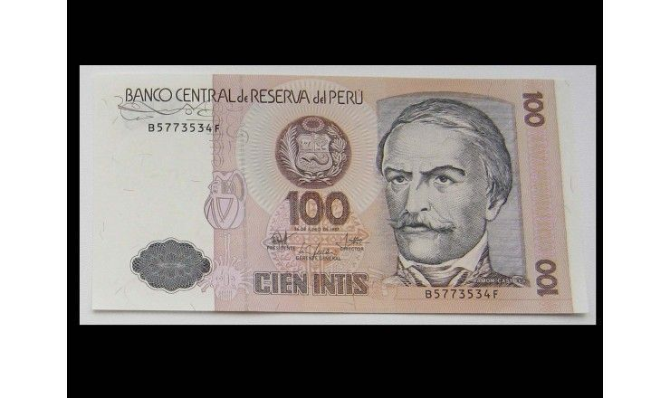 Перу 100 инти 1987 г.