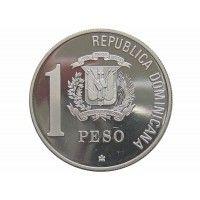 Доминиканская республика 1 песо 1988 г. (500-летие открытия Америки, proof)