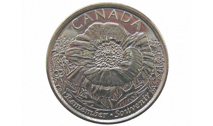 """Канада 25 центов 2015 г. (100 лет стихотворению """"На полях Фландрии"""")"""