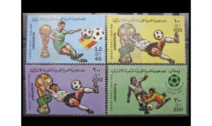 """Ливия 1982 г. """"Чемпионат мира по футболу, Испания"""" (серебряная надпечатка)"""