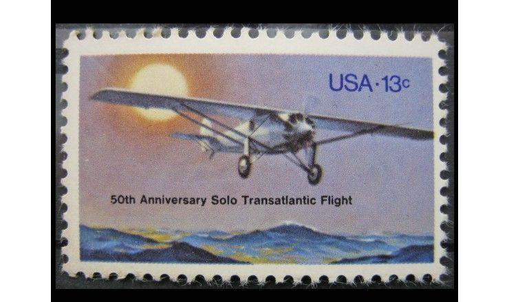 """США 1977 г. """"50-летие первого одиночного перелета Атлантического океана"""""""