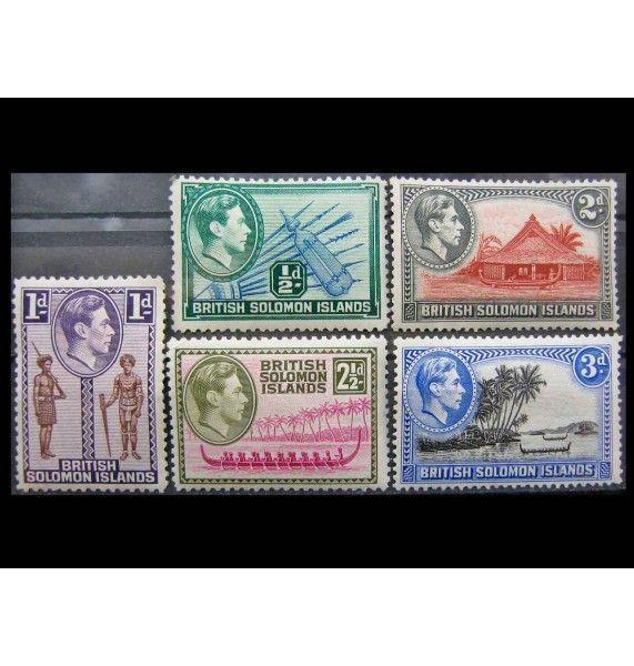 """Британские Соломоновы острова 1939 г. """"Король Георг VI и национальные мотивы"""""""