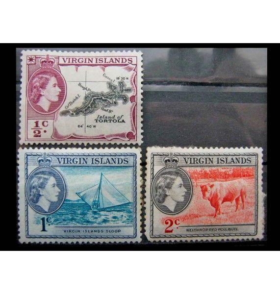 """Британские Виргинские острова 1956 г. """"Королева Елизавета II и национальные мотивы"""""""