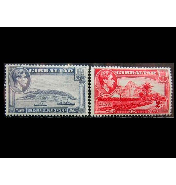 """Гибралтар 1943/1944 гг. """"Виды Гибралтара и Король Георг VI"""""""