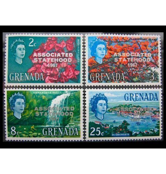 """Гренада 1967 г. """"Получение статуса ассоциированного с Великобританией государства"""" (надпечатка)"""