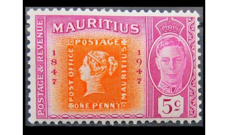 """Маврикий 1948 г. """"100 лет почтовой марке в Мавритании"""""""