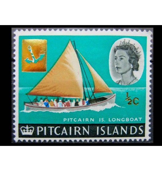 """Острова Питкэрн 1967 г. """"Корабли и птицы"""" (надпечатка)"""